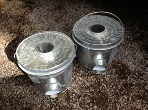Pair of rocket stoves built with a friend